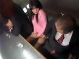 Japanese Girl Gets Blackmailed By Her Boss to Blow Him In Front Of Her Boyfriend To Keep Her Job