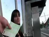 European girl fucks in public