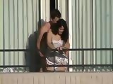 Neighbor Voyeur Tapes Amateur Wife being Fucked By Hubby On Balcony