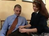 Naughty Schoolgirl Seduces Her Nerd Teacher