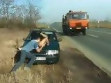 Guy Picked Up Hooker From Street And Fucked Her Hard At Busy Highway