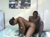 Two Afroamerican Students Pounding In Dorm While Rihanna Singing In Background