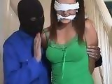 Home Alone Brunette Blindfolded And Fucked By Masked Burglar