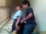 Amateur Asian Schoolgirl Fucked On The Stairs By Her Classmate