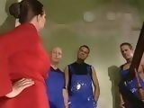 Busty Milf Gets Gangbanged By Repairmen While Her Daughter Watch