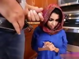 Muslim Teen Mistreated and Creampied By Her New Stepdad In The Kitchen