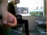 Maniac In Bus Jerking His Cock Right next To The Sleepy MILF