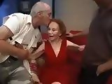 Skinny Grandma Gets Banged On A Red Couch