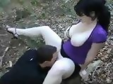 Busty Amateur Wife Cheating On Her Hubby With a Younger Dude In A Forest